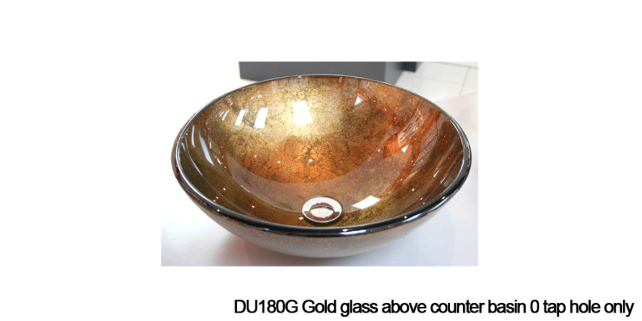 DU180G Gold above counter glass basin