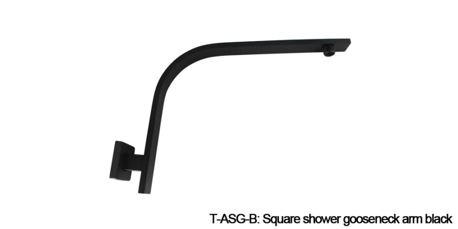 Square shower arm black