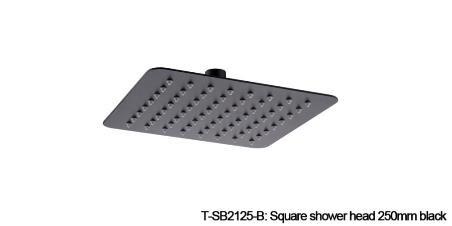 Square shower head black