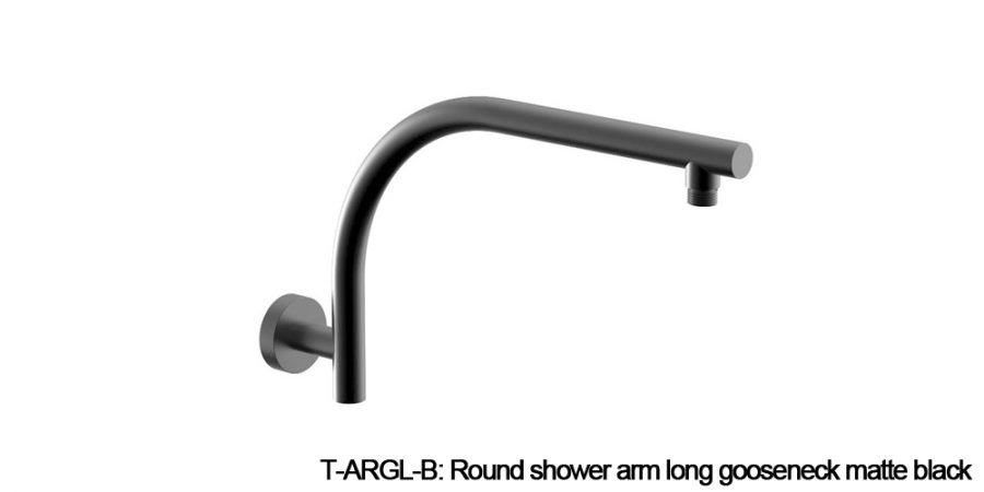 Round shower arm black